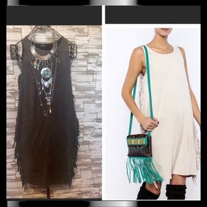 1804 coin faux suede  side fringe trimming dress